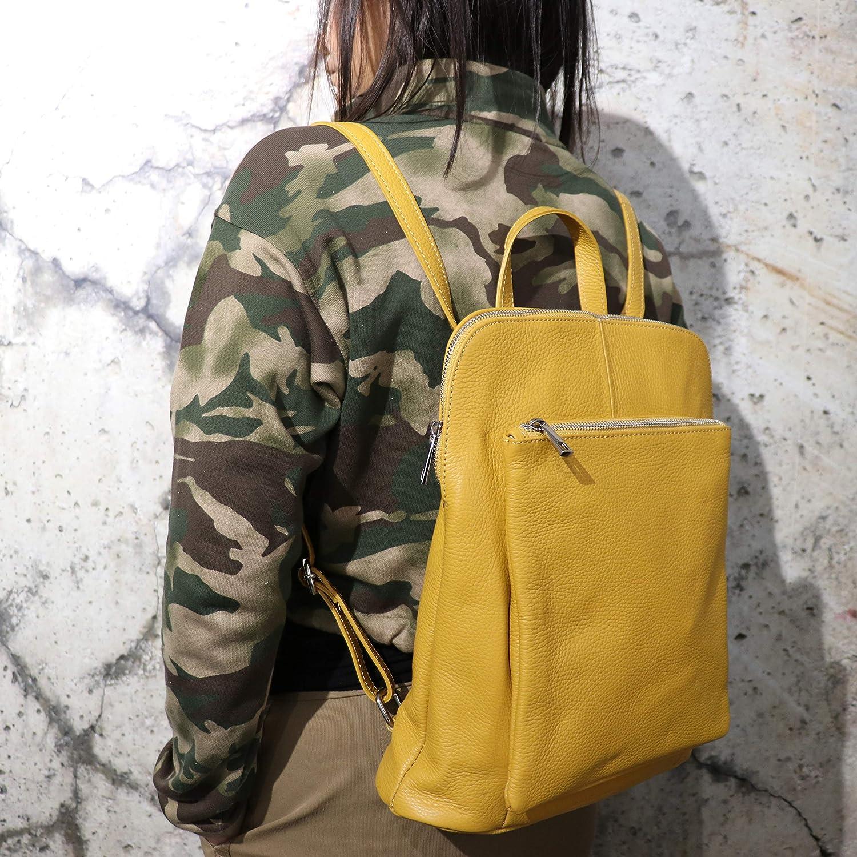 SH läder 3-i-1 handväska ryggsäck dam axelväska hängande väska av äkta äkta äkta äkta läder (B29 cm x H 35 cm x D 11 cm) Leonie G688 (mörk grå) Marinblå