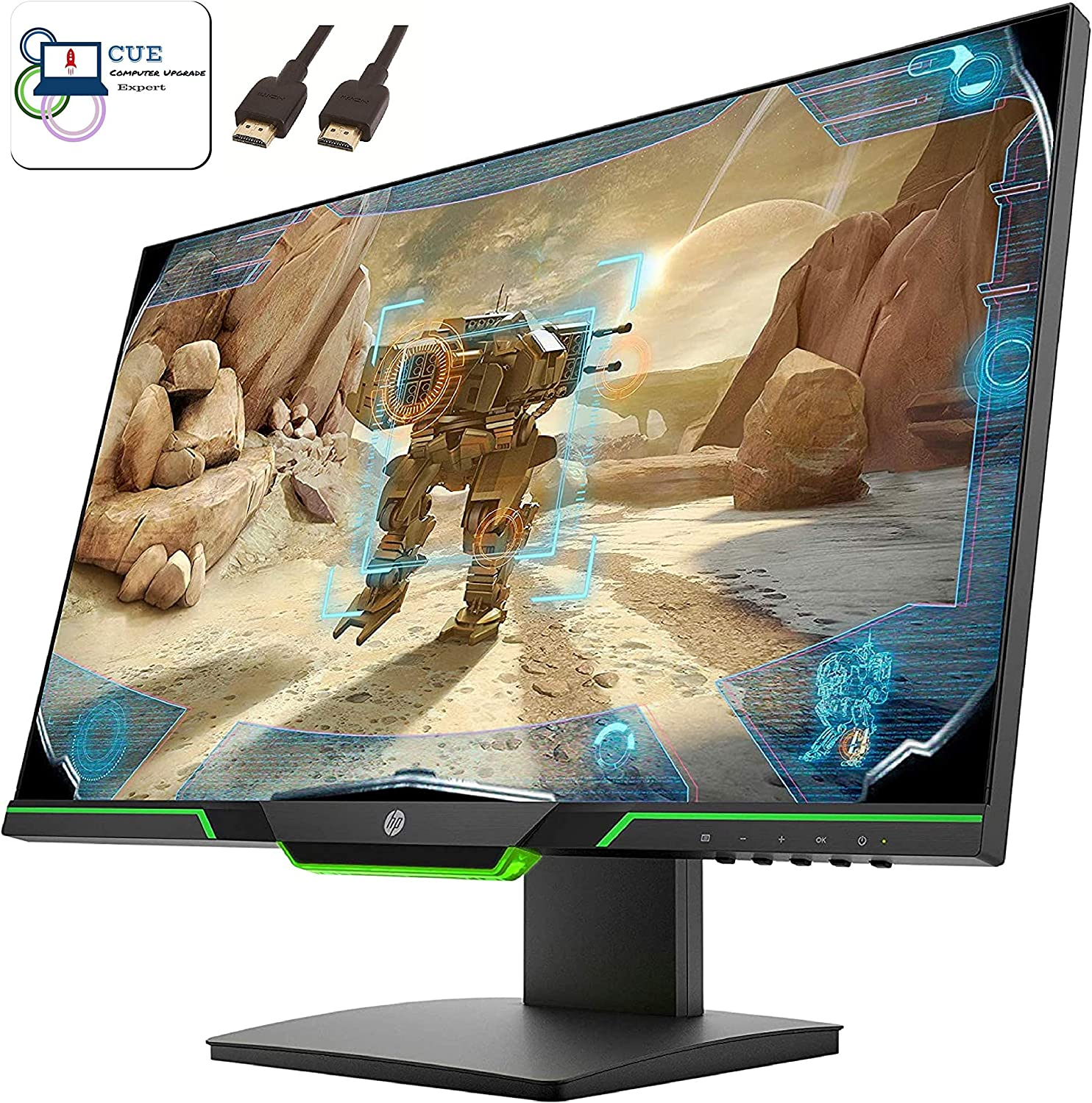 """HP 25x Gaming 24.5"""" Full HD Monitor, 144hz, 1ms Response, HDMI and DisplayPort inputs, 1000:1 Contrast Ratio, Gray/Green + CUE Accessories"""