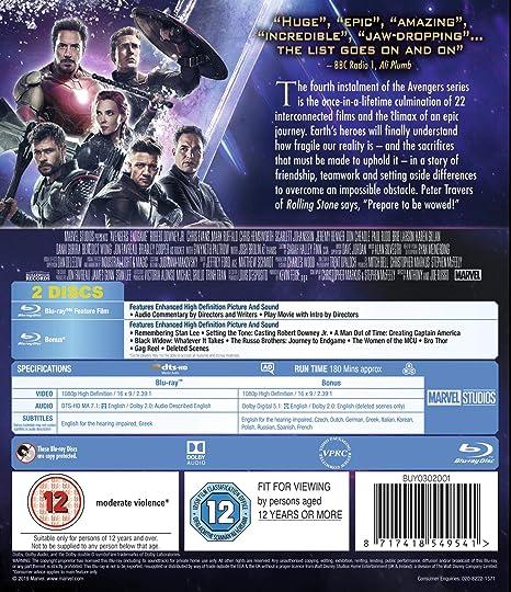 Amazon com: Avengers Endgame [Blu-ray] [2019] [Region Free