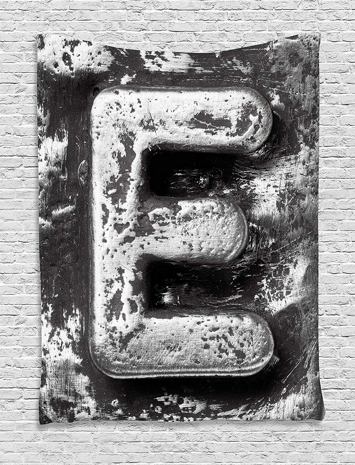 XHFITCLtd Letter E Tapestry, Aluminum Colored Decayed Uppercase E Alphabet Character Nostalgic Medieval Initials, Wall Hanging for Bedroom Living Room Dorm, 60 W X 80 L Inches, Grey