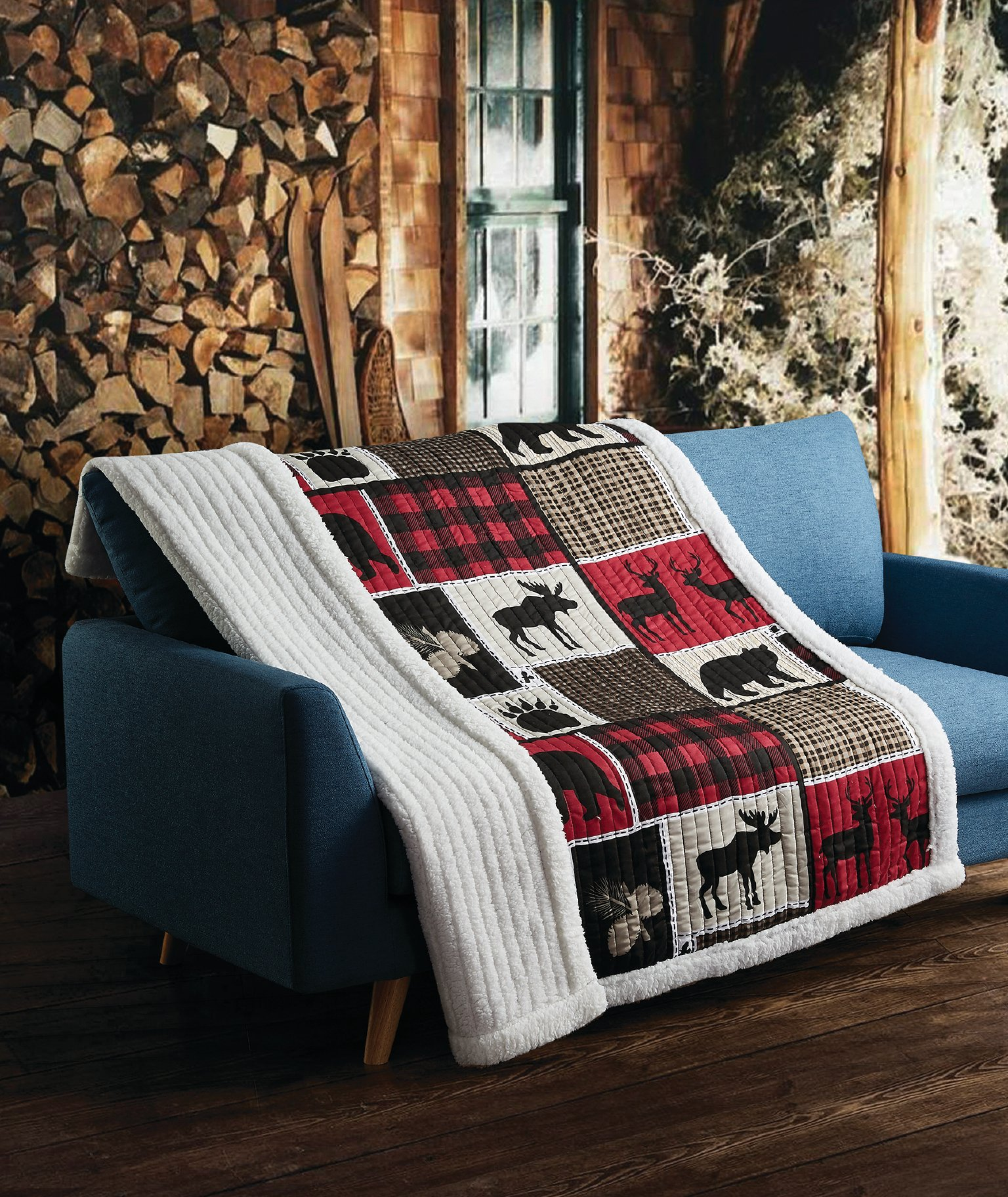 Virah Bella Lodge Life Black Bear Plaid Moose Bird and Deer Patchwork Quilt Throw Sherpa Blanket