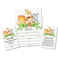 25 Sweet Safari Jungle Baby Shower Invitations and Envelopes (Large Size 5X7 inches), 25 Diaper Raffle Tickets, 25 Baby Shower Book Request Cards, Invites for Girl Boy Neutral Baby Showers Elephant