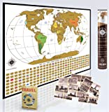 Deluxe Wordsworth & Black World Map - Premium Personalized World Map For Any Traveler