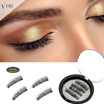 d76d96c10f8 VereBeauty Magnetic False Eyelashes,3D False Eyelashes, Three Magnetic,  Thicker and Longer 33mm