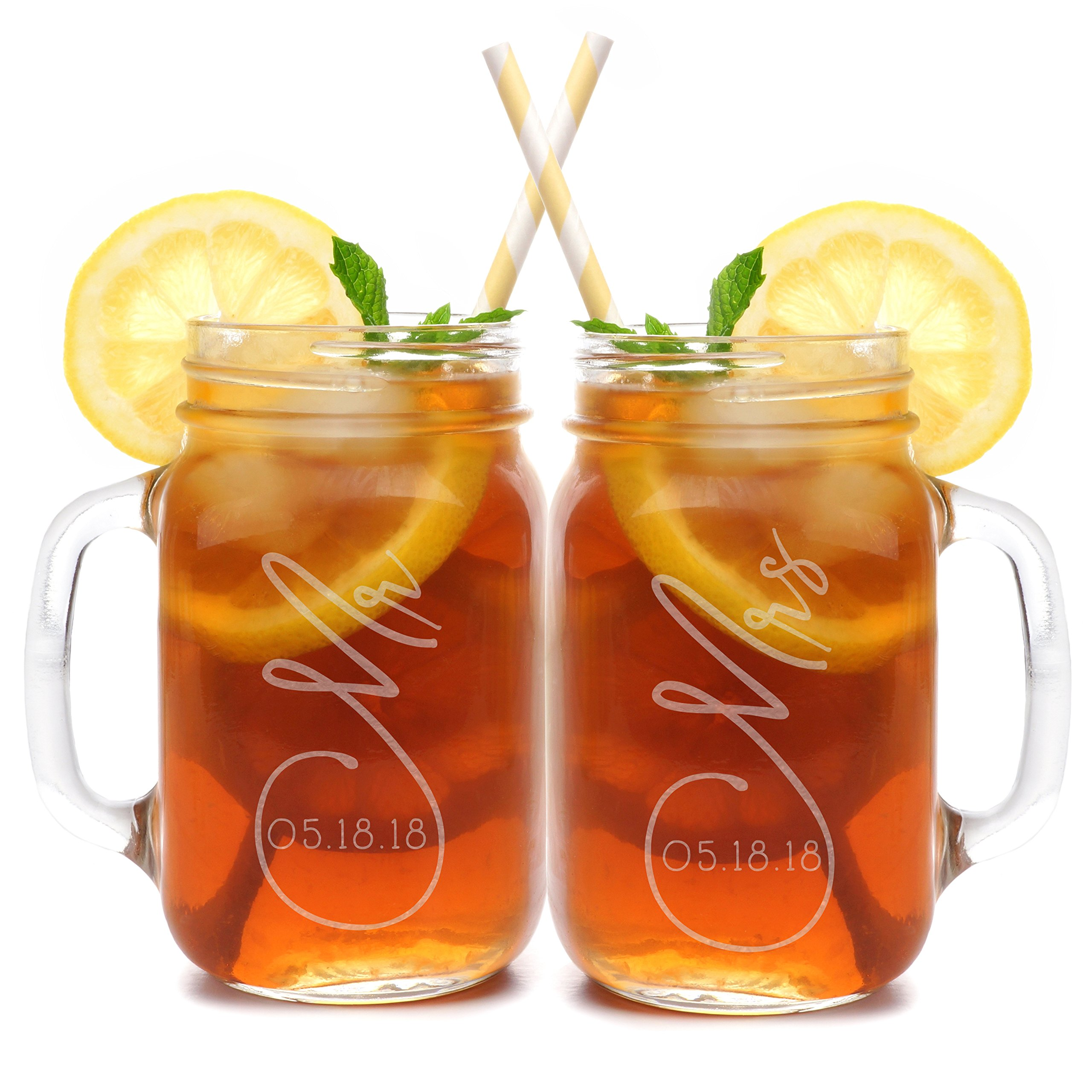 Set of 2, Personalized Mason Mug Set for Couples, Clear, Mr and Mrs Mason Jar Glasses - Custom Etched His and Her Gifts for Couples - Engraved for Free-10