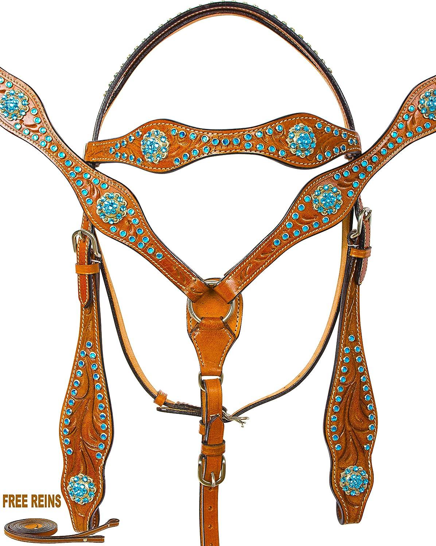 ブラックParade Western Pleasure Showレザー馬タックセットターコイズダイヤモンドBridle Headstall Breastplate Reins Horse  B072BZH2RB