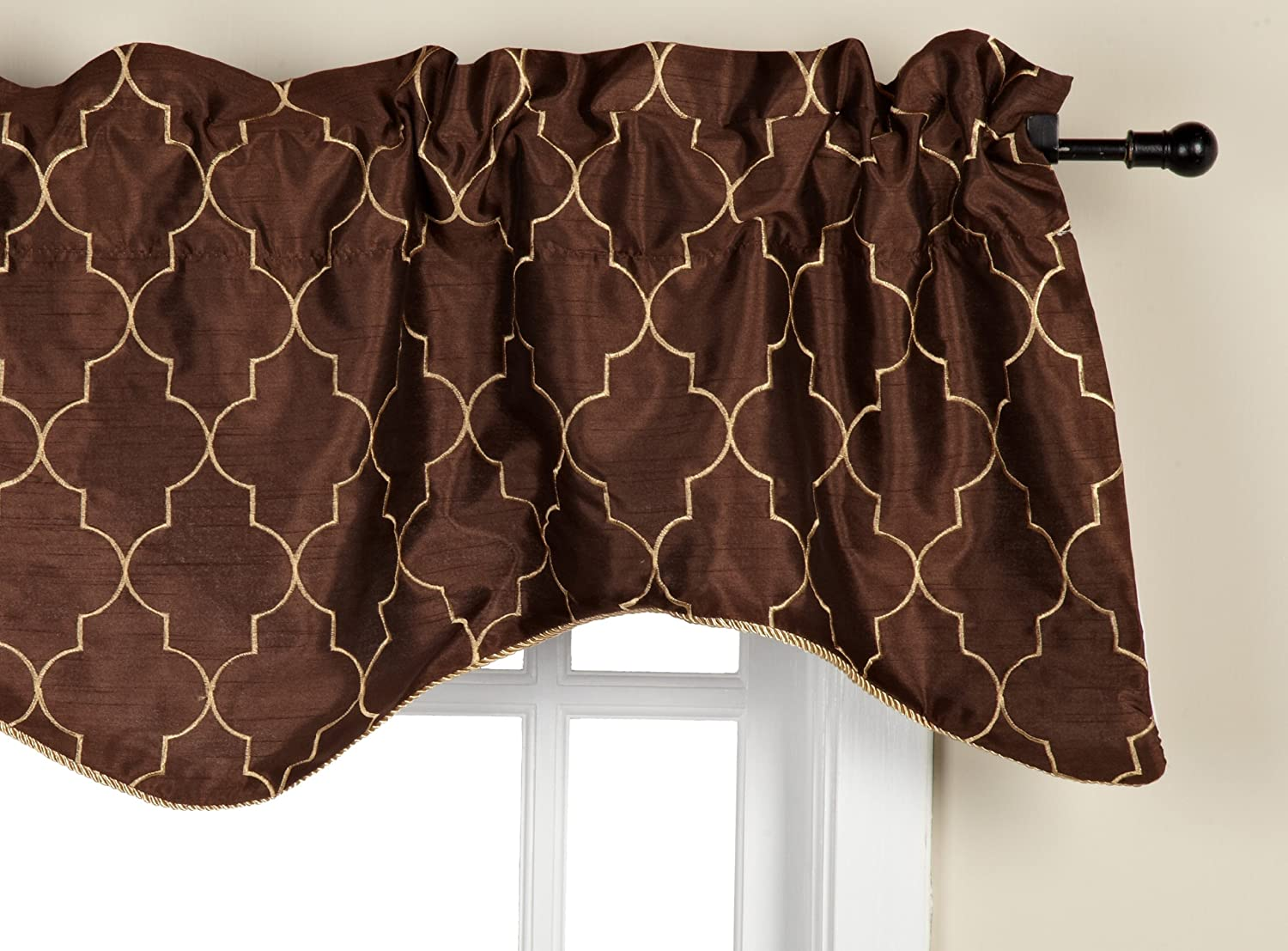 look scalloped stylish client embroidered on valance window leaf face pretty fashions deep this living the for windows her fabric new brown room had pattern wanted olive green a my