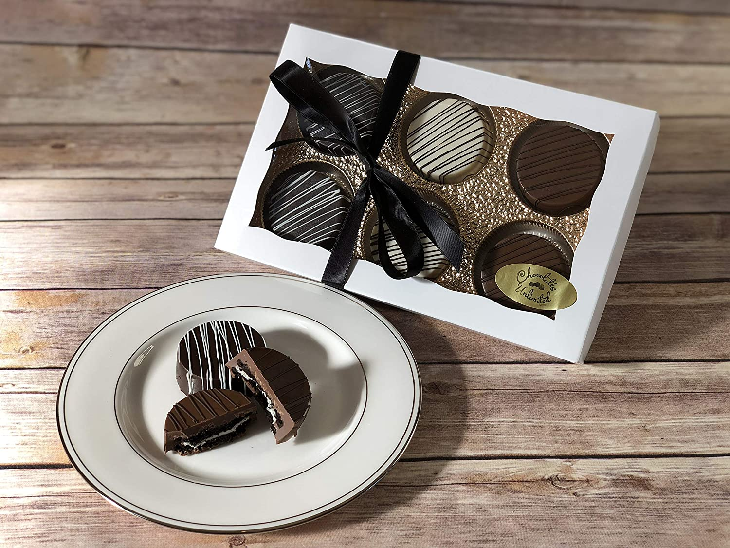 Chocolate Covered Cookies Gift Box, Elegant Chocolate Covered Cookies Gift, Gourmet Chocolate Cookies, Unique Gourmet Food Gift Idea for Women, Men, Birthday, Corporate, Holiday Basket