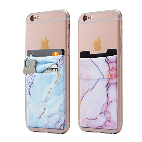 official photos a0f8f 10bb4 (Two) Stretchy Marble Cell Phone Stick On Wallet Card Holder Phone Pocket  for iPhone, Android and All Smartphones. (Blue&Pink)