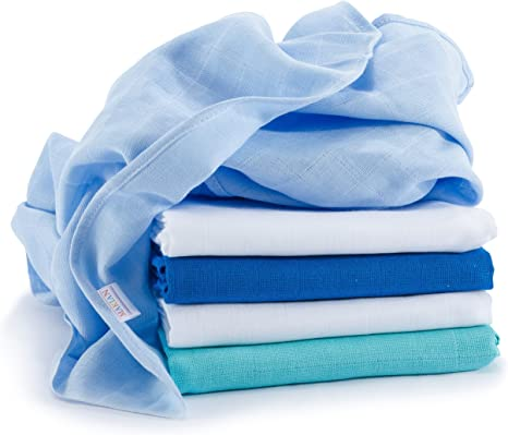 Muselina / Paño / Gasa algodón bebé - 5 Ud, 70x70 cm, azul, blanco, Tejido doble con bordes reforzados, lavable a 60°, certificado OEKO-TEX Standard 100: Amazon.es: Bebé