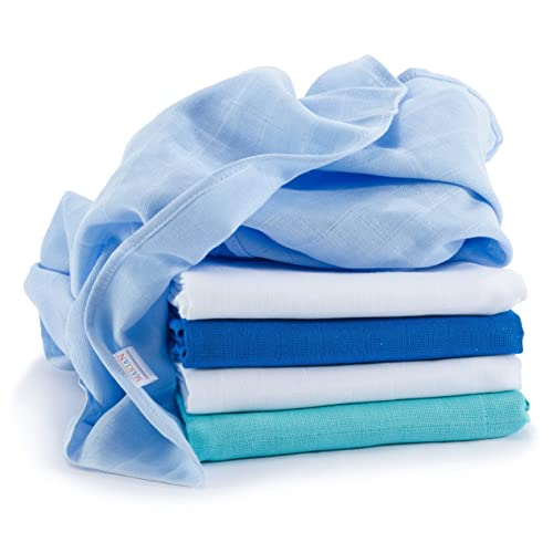 Lange bébé en mousseline de coton   Lot de 5   70 x 70 cm   Qualité supérieure - Couleur bleu, double tissage, bordure renforcée, certifié Öko-Tex Standard 100, lavable à 60° C