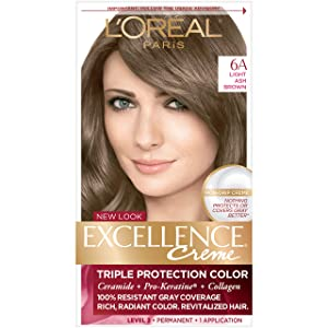L'Oreal Paris Excellence Creme Permanent Hair Color, 6A Light Ash Brown, 100% Gray Coverage Hair Dye, Pack of 1
