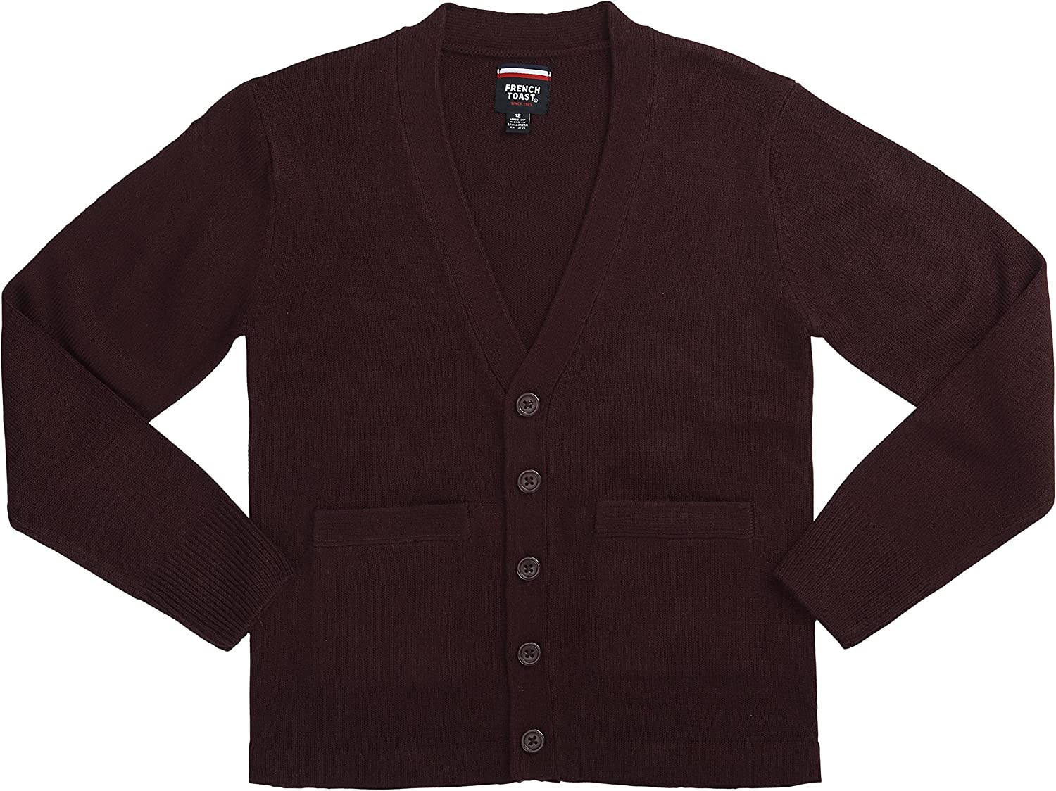 Burgundy 14//16 X-Large French Toast School Uniform Boys Anti-Pill V-Neck Cardigan Sweater