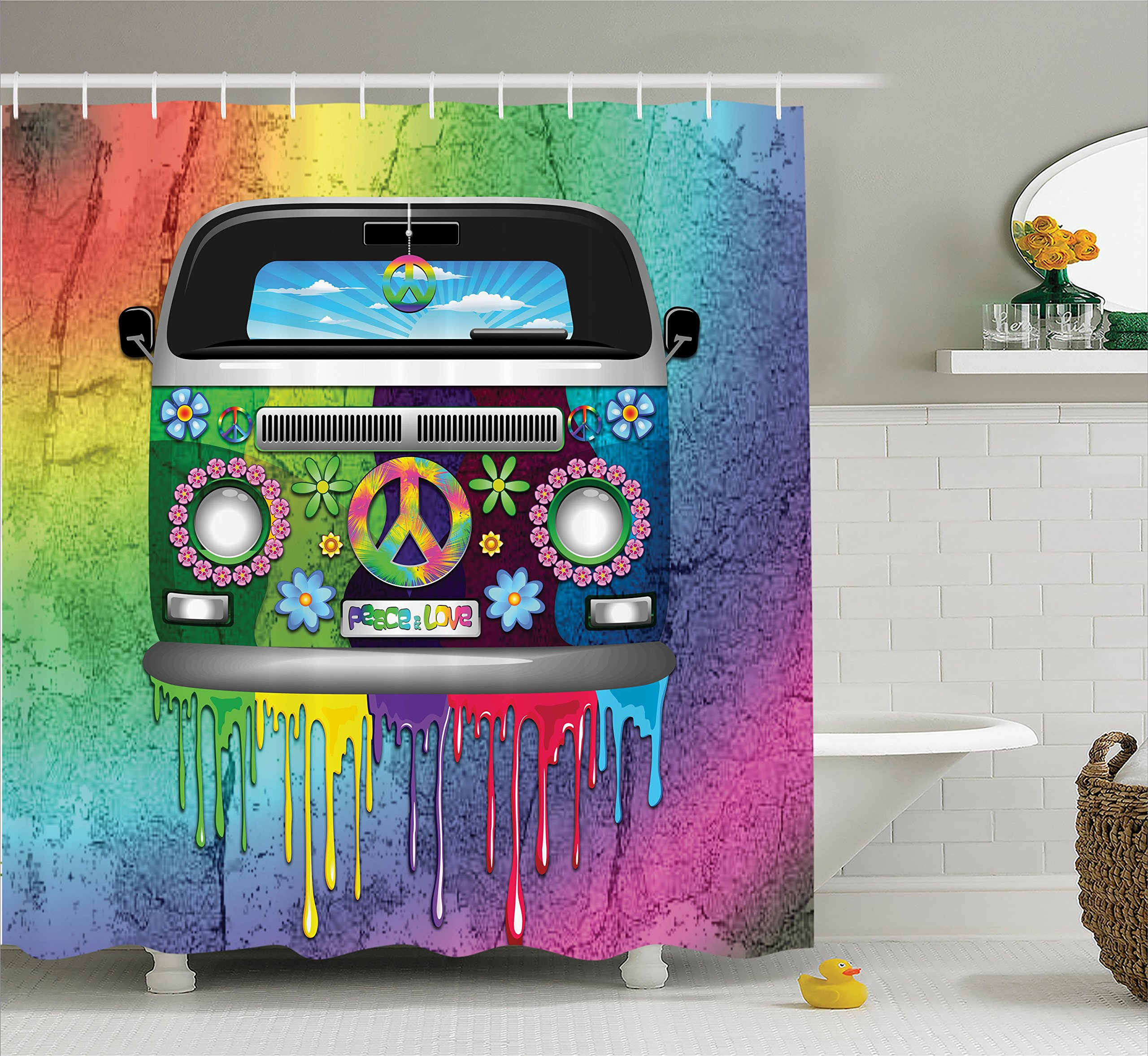 Ambesonne Groovy Decorations Shower Curtain Set Old Style Hippie Van With Dripping Rainbow Paint Mid 60S Youth Revolution Movement Theme