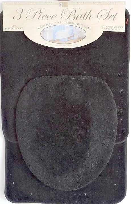 3 Piece Bath Rug Set Black Bathroom Mat Contour Rug Lid Cover Non Slip  Latex Bottom
