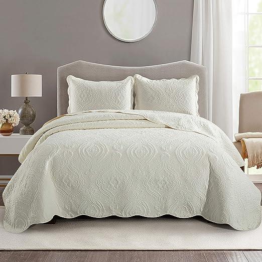 Juego de cama de 3 piezas, colcha cubrecama de algodón con diseño floral, bordado y acolchado + 2 fundas de almohada, crema, matrimonio grande: Amazon.es: Juguetes y juegos