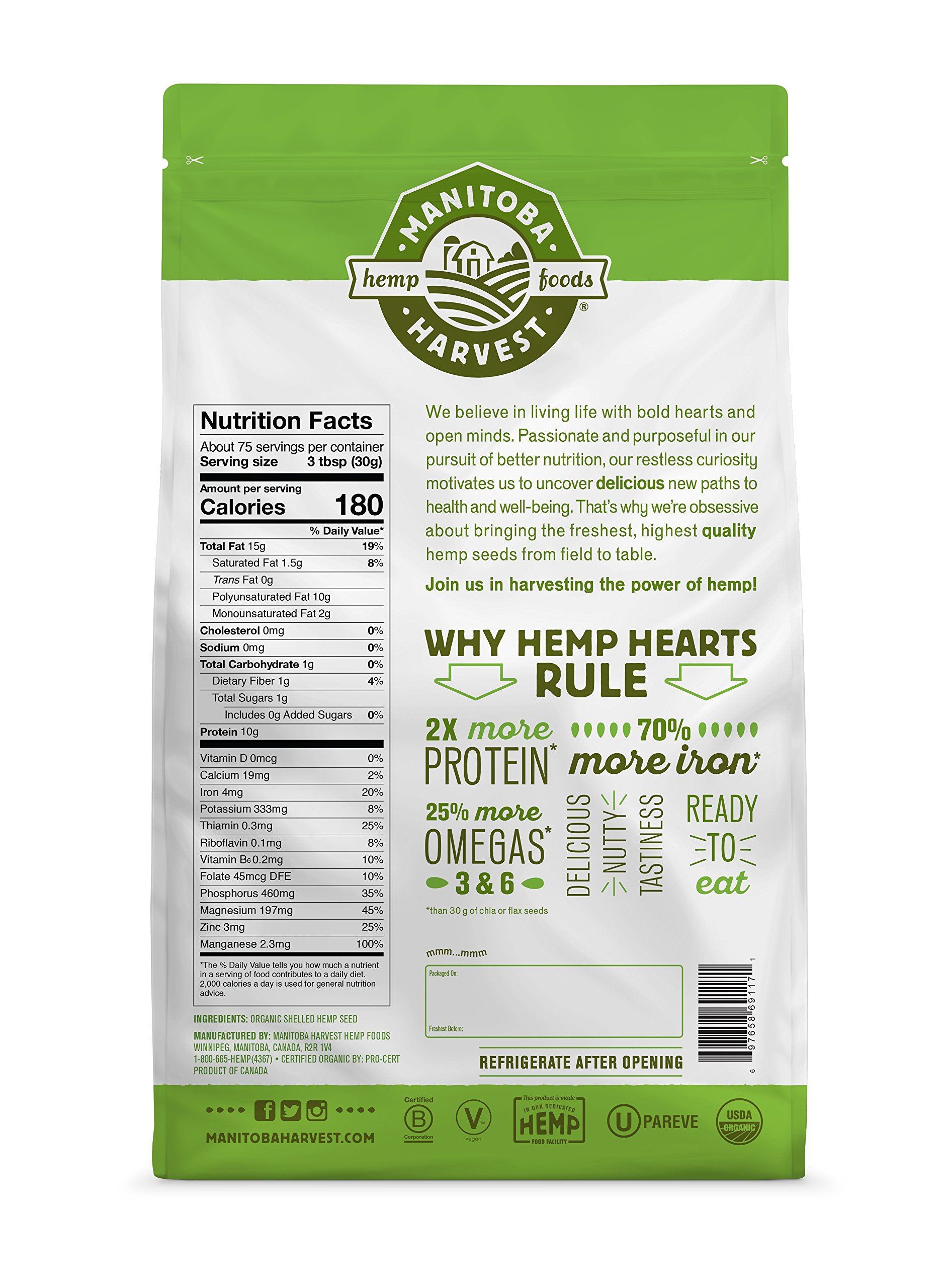 Manitoba Harvest Organic Hemp Hearts Raw Shelled Hemp Seeds, 5lb; with 10g Protein & 12g Omegas per Serving, Non-GMO, Gluten Free by Manitoba Harvest (Image #2)