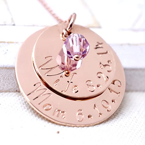 Amazoncom Rose Gold Personalized Mothers Day Necklace Custom