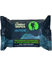 Combat Wipes ACTIVE Outdoor Wet Wipes | Extra Thick, Ultralight, Biodegradable, Body & Hand Cleansing/Refreshing Cloths for Camping, Travel, Gym & Backpacking w/ Natural Aloe & Vitamin E (25 Wipes)