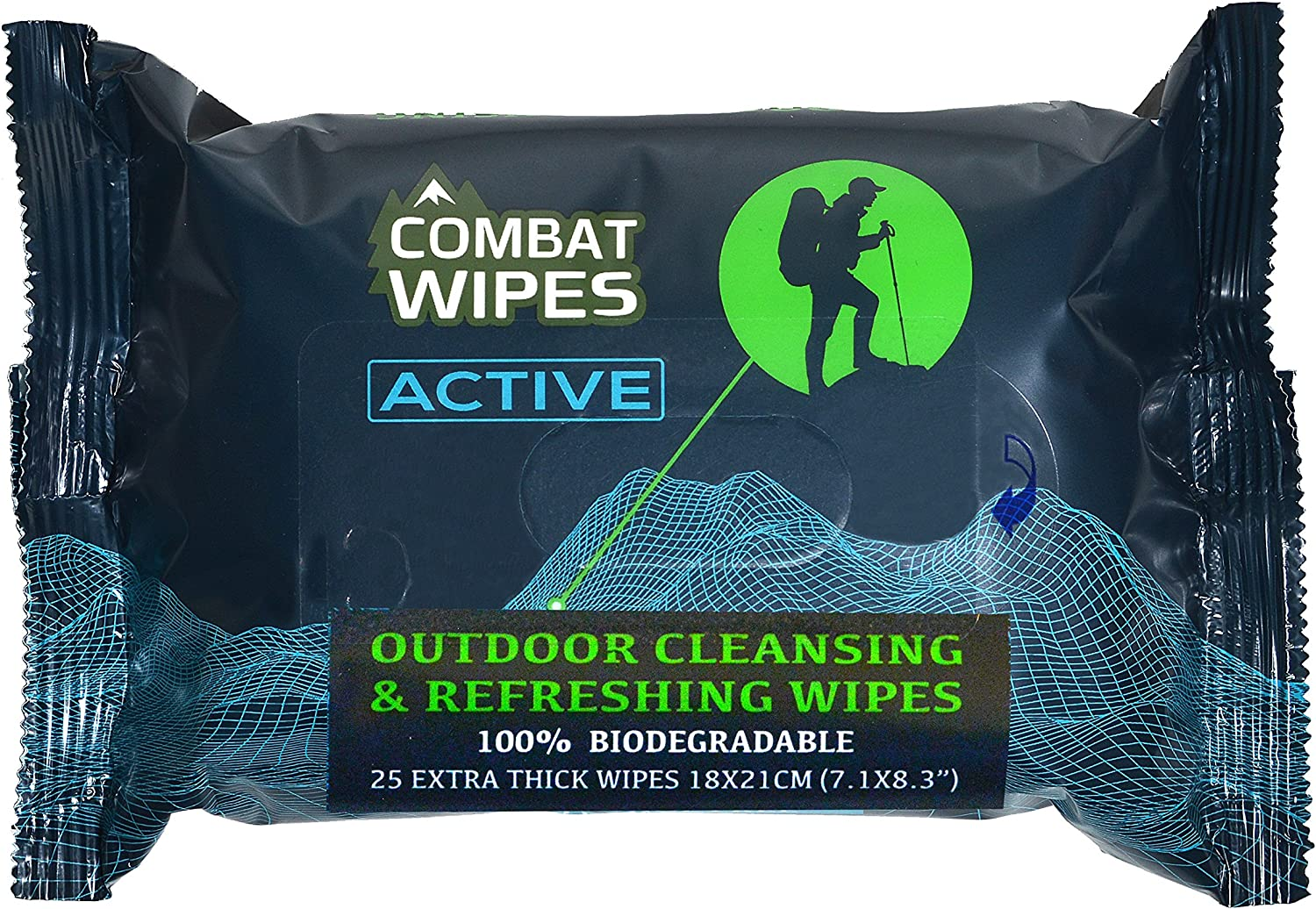 Combat Wipes Active Outdoor Wet Wipes | Extra Thick, Ultralight, Biodegradable, Body & Hand Cleansing/Refreshing Cloths for Camping, Gym & Backpacking w/Natural Aloe & Vitamin E (25 Wipes): Sports & Outdoors