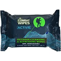 Combat Wipes Active 100% Biodegradable Cleansing and Refreshing Wipes for Outdoors and Camping, Extra Thick (25/ Pack)