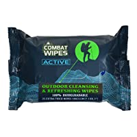 Combat Wipes Active Outdoor Wet Wipes | Extra Thick, Ultralight, Biodegradable,...