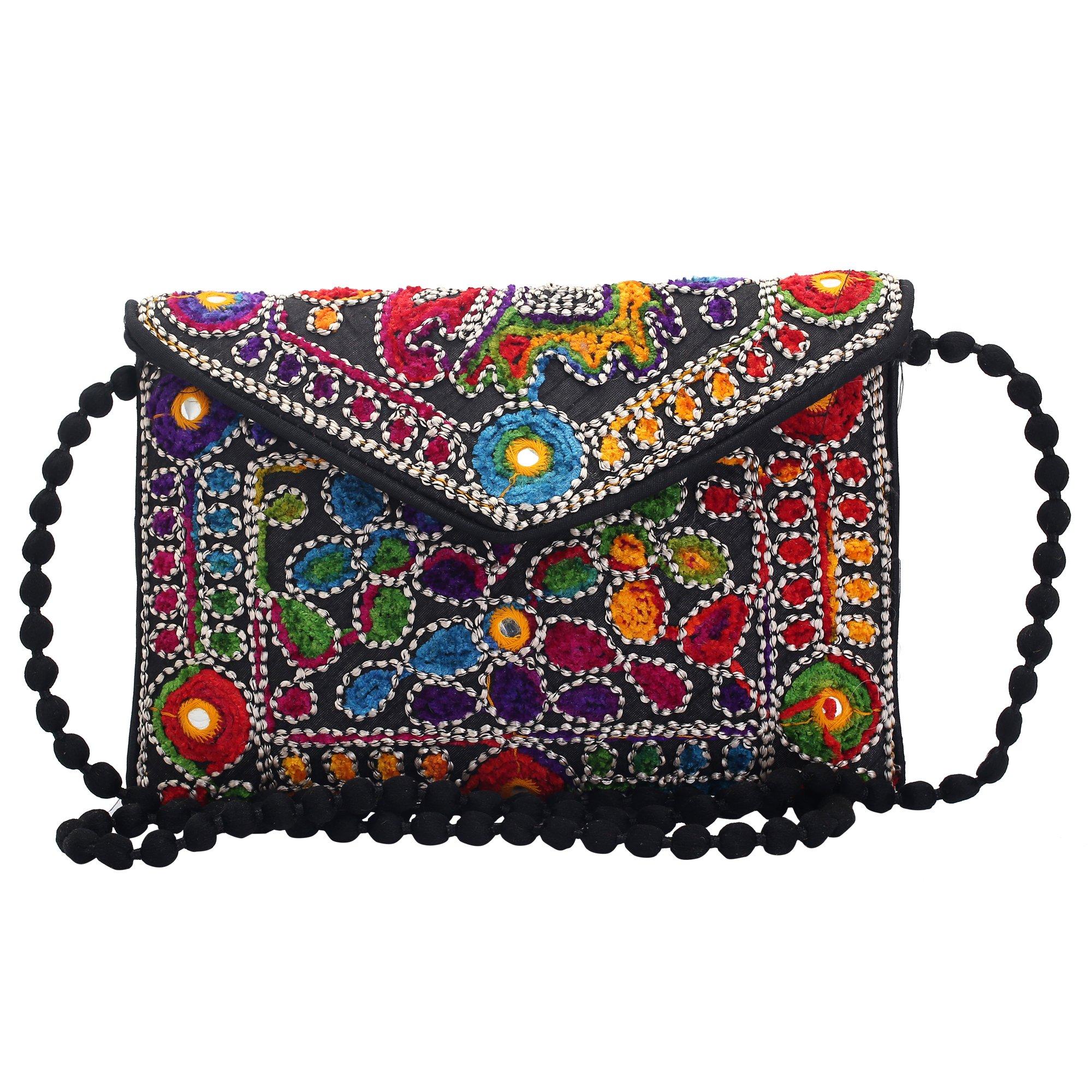 Jwellmart Indian Handicraft Ethnic Traditional Embroidered Evening Clutch Foldover Purse Handbag (Black)