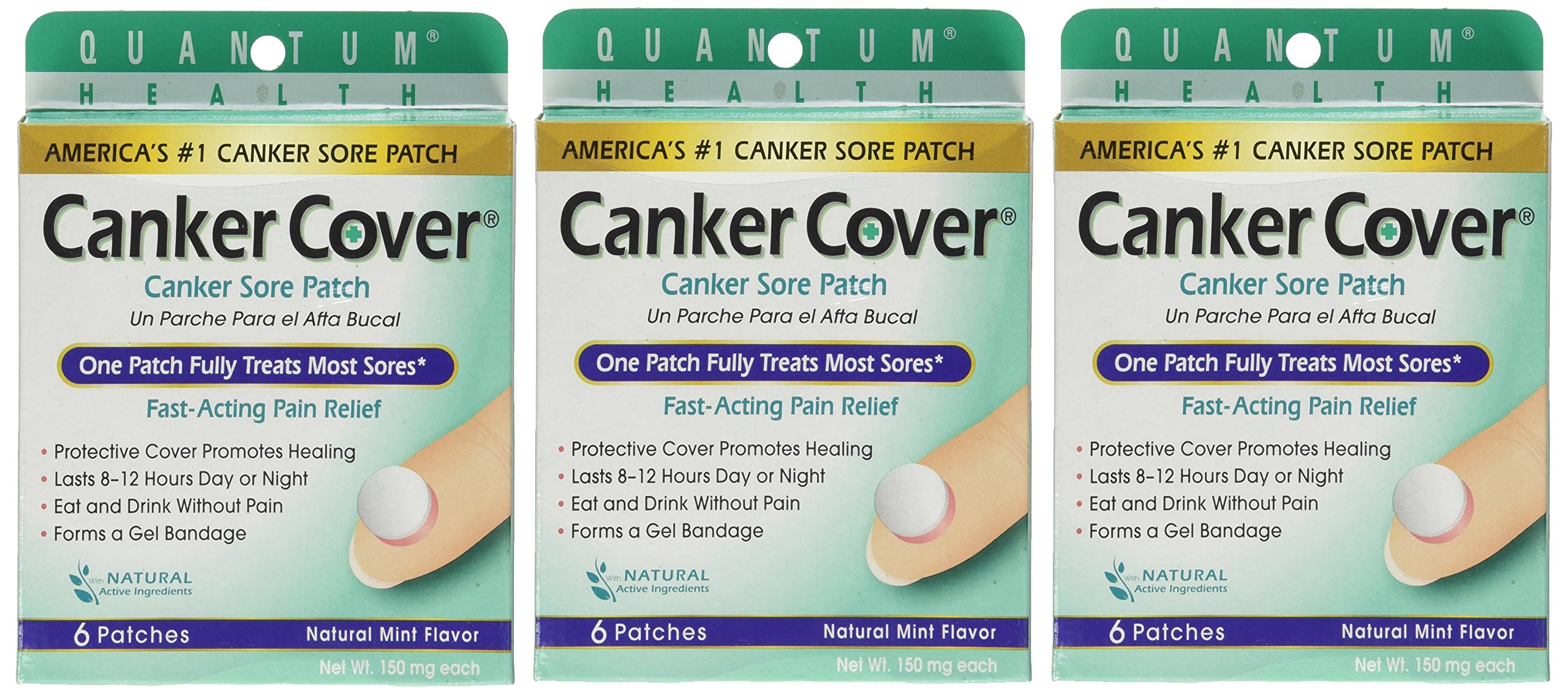 Quantum Health / Dentek Canker Cover Oral Canker Sore Patch, Mint Flavor, 150 Milligram, 6-Count Box (Pack of 3)