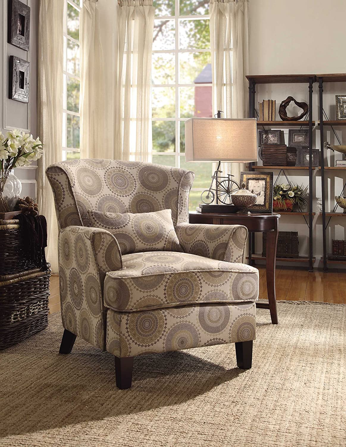 Superb Amazon.com: Homelegance Nicolo Wing Back Accent Chair With Pillow In Grey  And Brown Medallion Print: Kitchen U0026 Dining Part 16