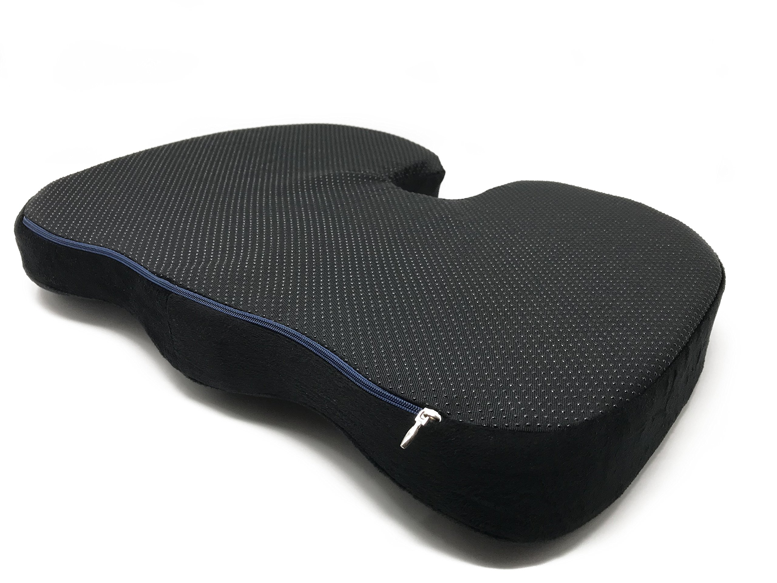 Memory Foam Luxury Seat Cushion, Orthopedic Design for Back Pain Relief, Sciatica and Tailbone Pain