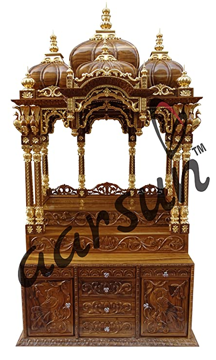 Aarsun Woods Teak Wood Temple Prayer Cabinet Wooden