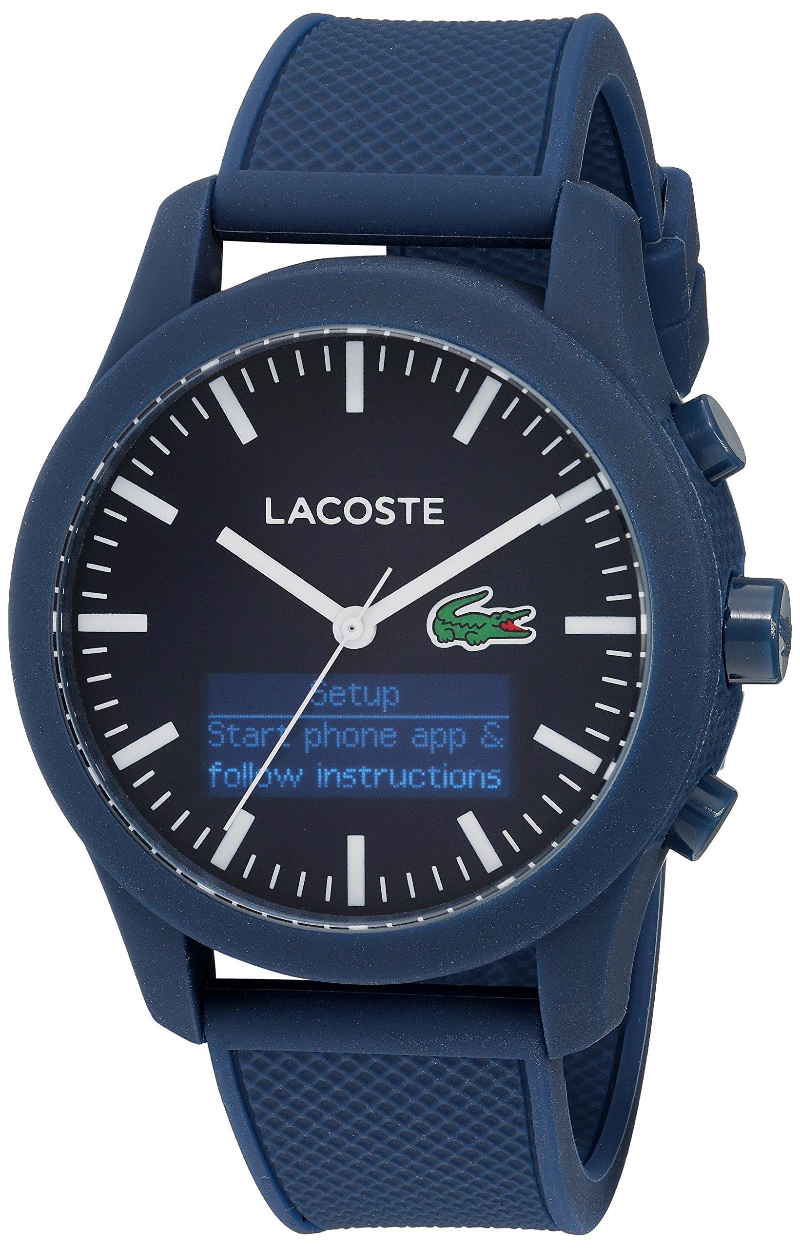 Lacoste Men's '12.12-TECH' Quartz Plastic and Rubber Smart Watch, Color:Blue (Model: 2010882) by Lacoste