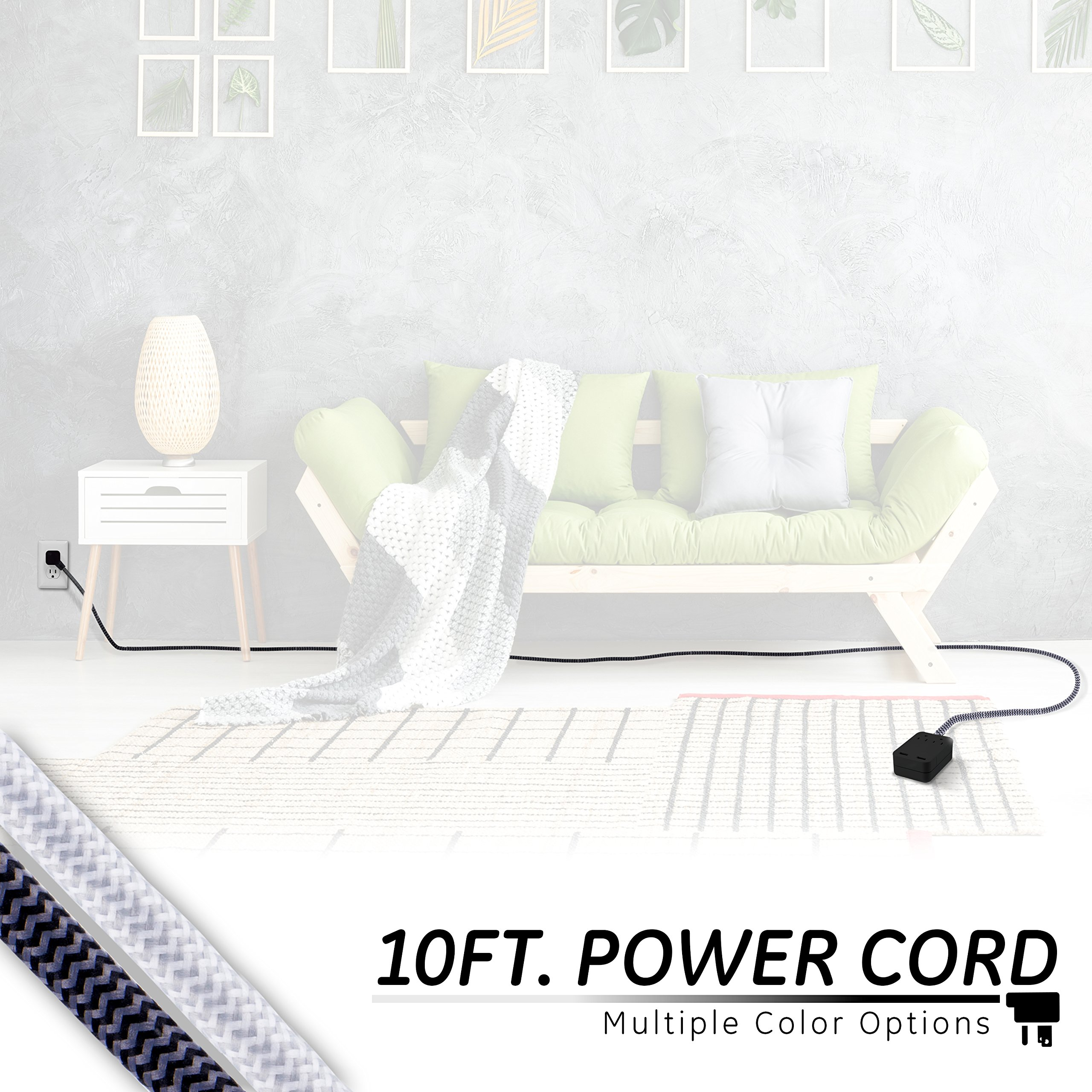 GE Pro Designer Charging Station Surge Protector Power Strip, Extra Long 10ft Braided Extension Cord, Flat Plug, 2 AC Outlets, 2 USB Ports, 2.4A Fast Charge, Wall Mount, UL Listed, Black/Gray, 41500 by GE (Image #3)