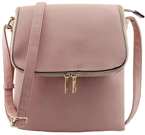 Faux leather flap top large triple compartments cross body bags (ROSE PINK)