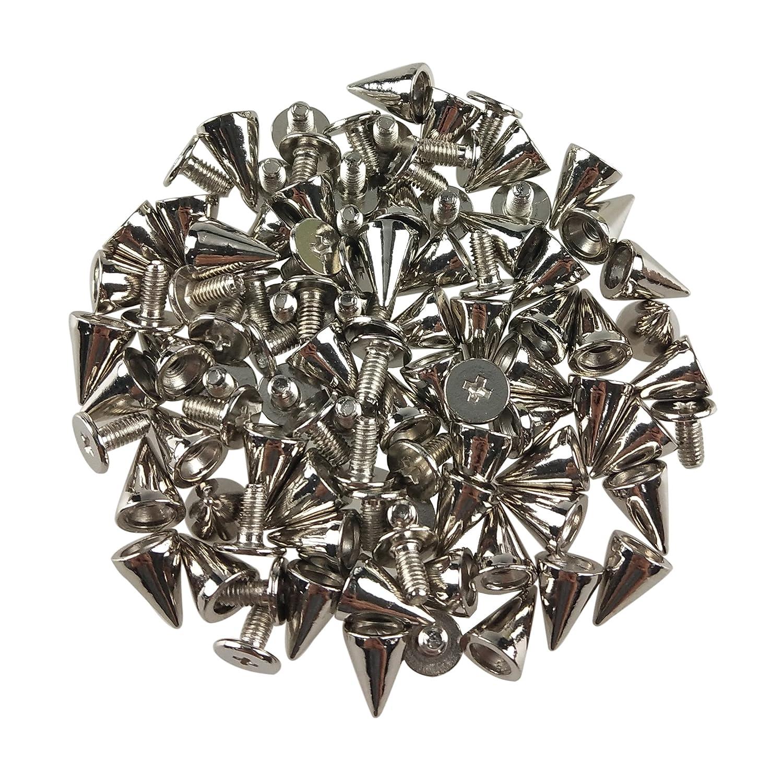 10mm 1//4 Inch *3//8 Inch 150PCS Cone Spikes Screwback Studs DIY Craft Cool Rivets Punk 7 Silvery, Black, Bronze