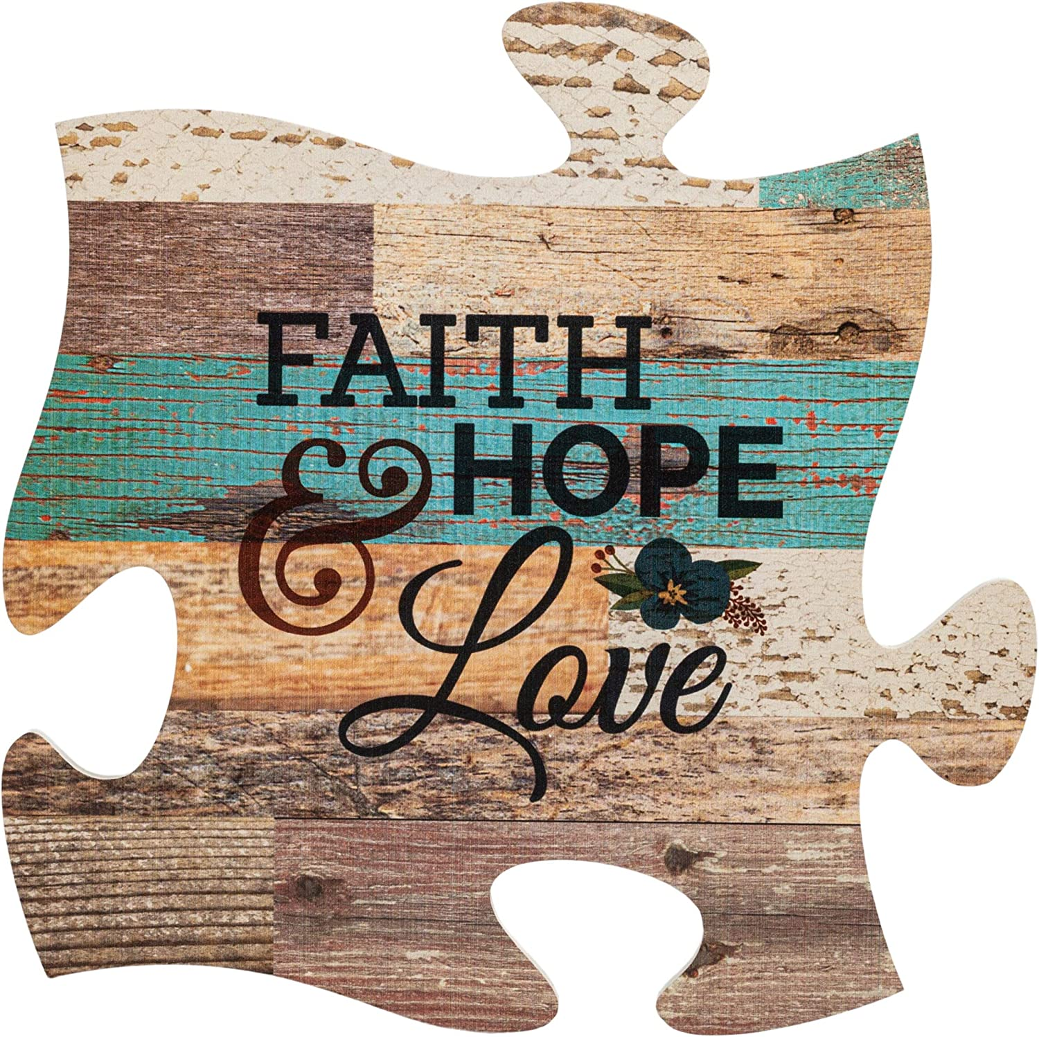 P. Graham Dunn Faith Hope & Love Multicolor 12 x 12 Wood Wall Art Puzzle Piece Plaque