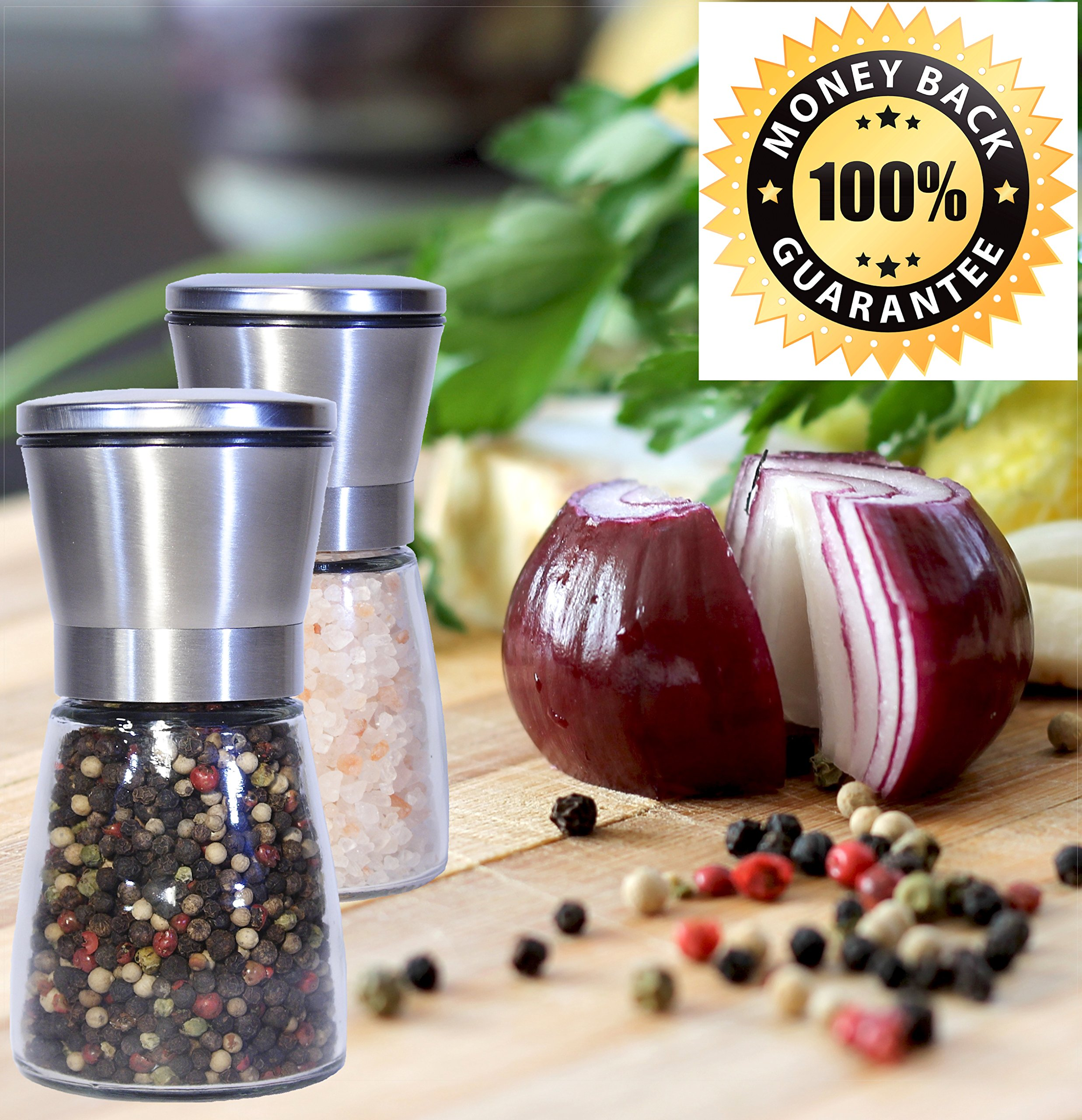 Best Salt and Pepper Grinder, Stainless Steel - Adjustable Coarseness Mill - Kitchen To Table Use Grinder - Easy to Refill Shaker - Elegant Spice Mill (Large set of 2 grinders) by Best cooks friends (Image #2)