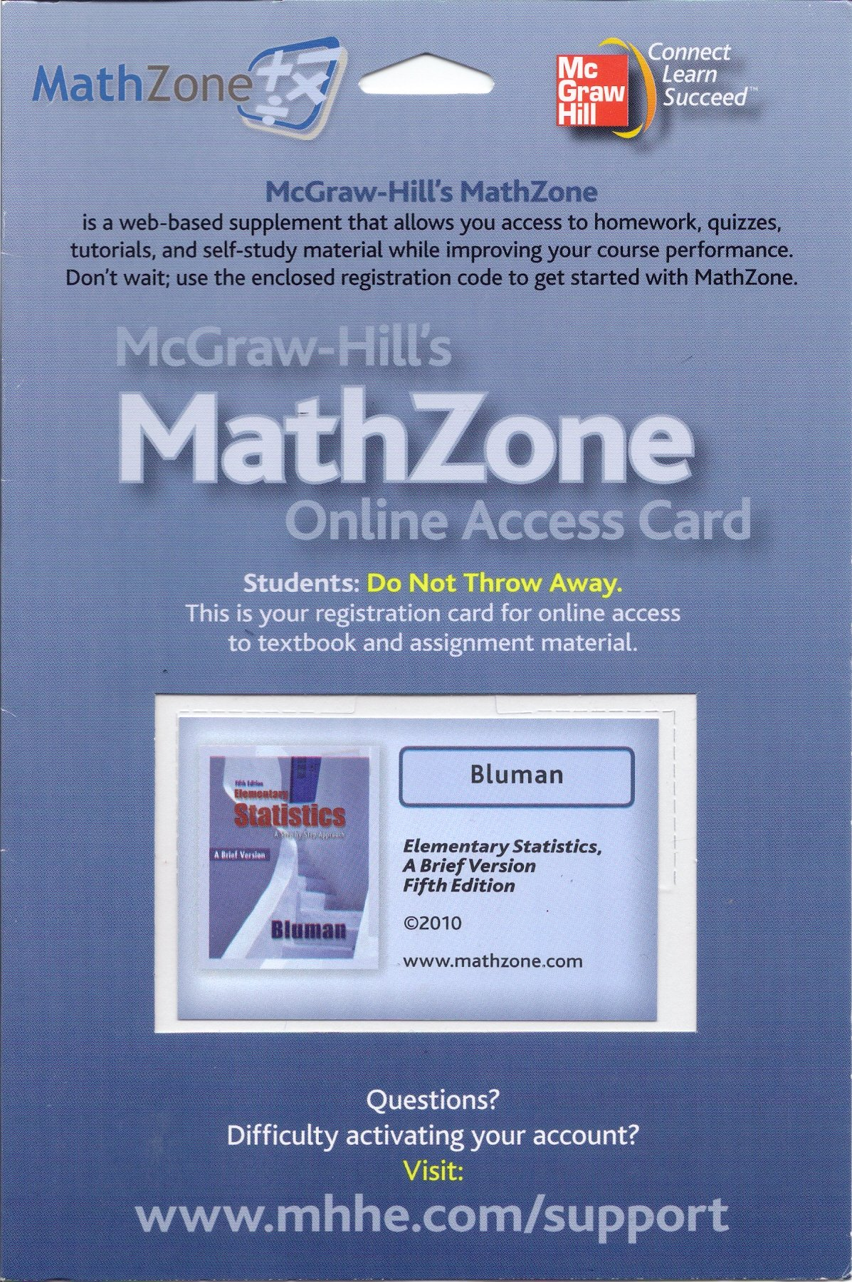 Read Online Mcgraw-Hill's MathZone Online Access Card - Bluman - Elementary Statistics, a Brief Version, Fifth Edition, 2010 (2010) pdf
