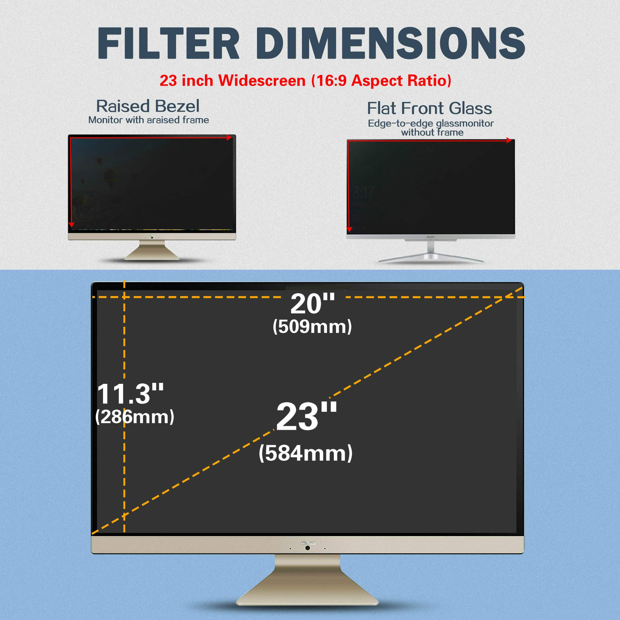 SKYLARKING 23 inches Computer Privacy Screen Filter, Anti-Spy Anti-Glare Screen Protector Film Compatible 23'' Widescreen Computer LCD Monitor with Aspect Ratio 16:9 (509mm x 286mm) by Skylarking (Image #8)