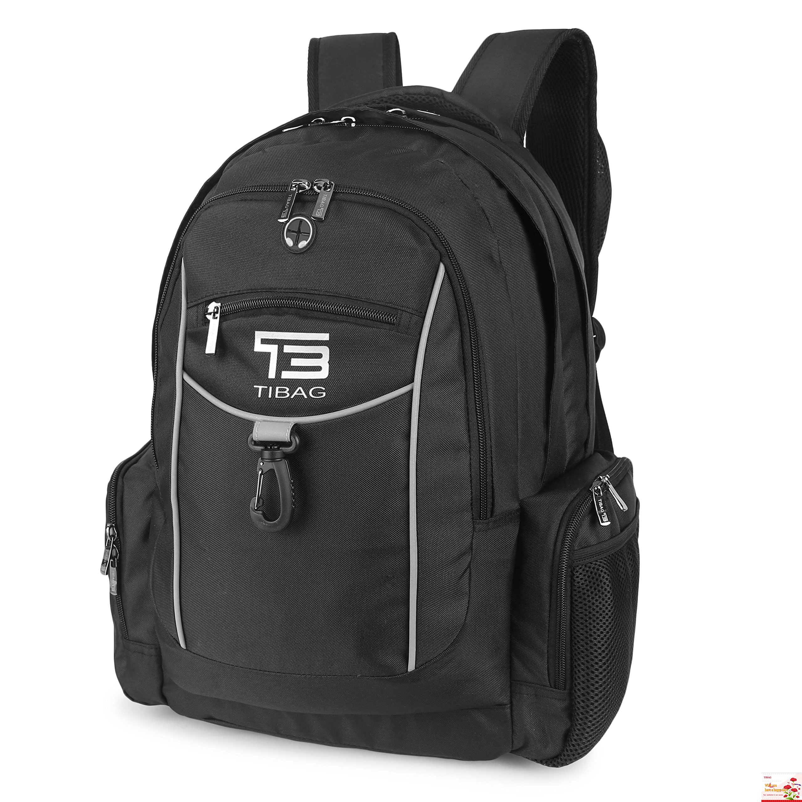 "Laptop Backpack Water Resistant Computer Backpacks Bag for Men College School Travel and Work Fit Laptops Up to 17"" (Black)"