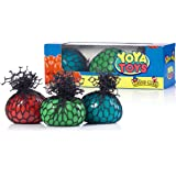 YoYa Toys 3 Squishy Mesh Balls   Non Toxic Rubber Sensory Balls   Ideal For Stress & Anxiety Relief, Enhanced Blood Circulation, Special Needs, Autism & Disorders   2.4 Inches Size
