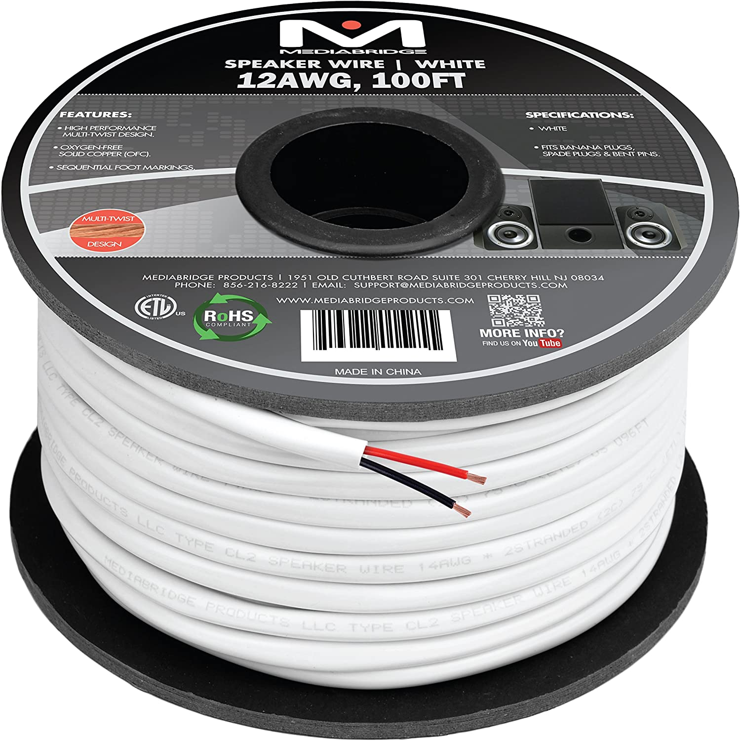 ETL Listed /& CL2 Rated for in-Wall Use - 99.9/% Oxygen Free Copper Part# SW-12X2-100-WH Mediabridge 12AWG 2-Conductor Speaker Wire 100 Feet, White