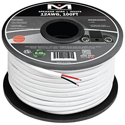 amazon com mediabridge 12awg 2 conductor speaker wire (100 feet home theater installation product mediabridge 12awg 2 conductor speaker wire (100 feet, white) 99 9%