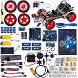 SunFounder Roboterbausatz Smart Car Kit Programmierbarer Roboter Lernset for Arduino with Uno R3, Obstacle Avoiding, Line Tracing and Light Seeking
