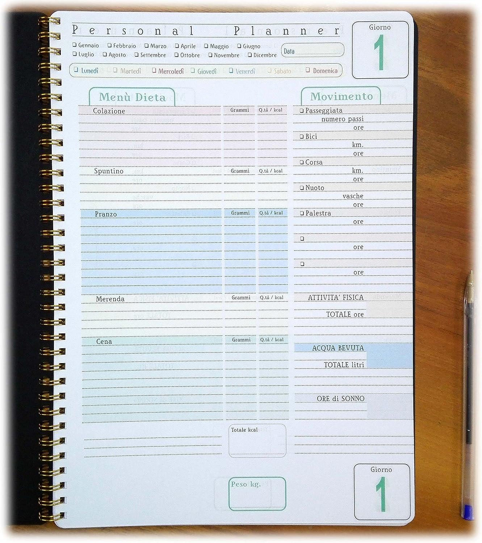 Personal Planner - DIARIO de DIETA - 100 DÍAS - cuaderno con espiral A4 21x30cm tipome.com