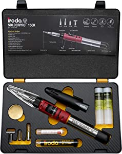 Iroda Solderpro 150K Cordless Soldering Iron Kit, 4-in-1 Portable Heat Shrink, Hot Knife, Butane Soldering Iron Torch, Safety Ignition Switch, 25 Second Heat Up, 100 Mins Run Time Butane Not Included