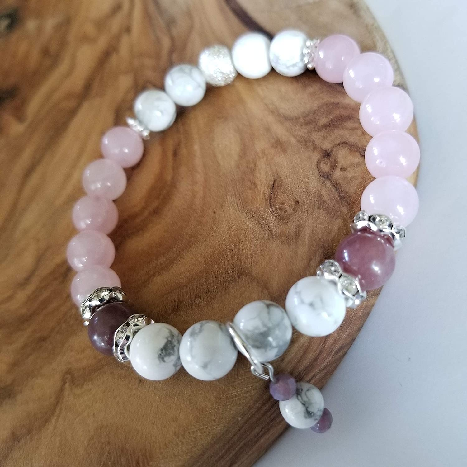 Anxiety and Calm the Spirit White Howlite Lepidolite And Rose Pink Quartz Semi-Precious Gemstone Bracelet Healing Stone Bracelet with Intention to Release Anger