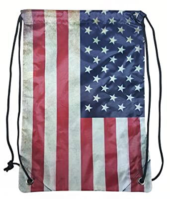 Amazon.com | Drawstring Bag By Pier 17 American Flag Bag, Best ...