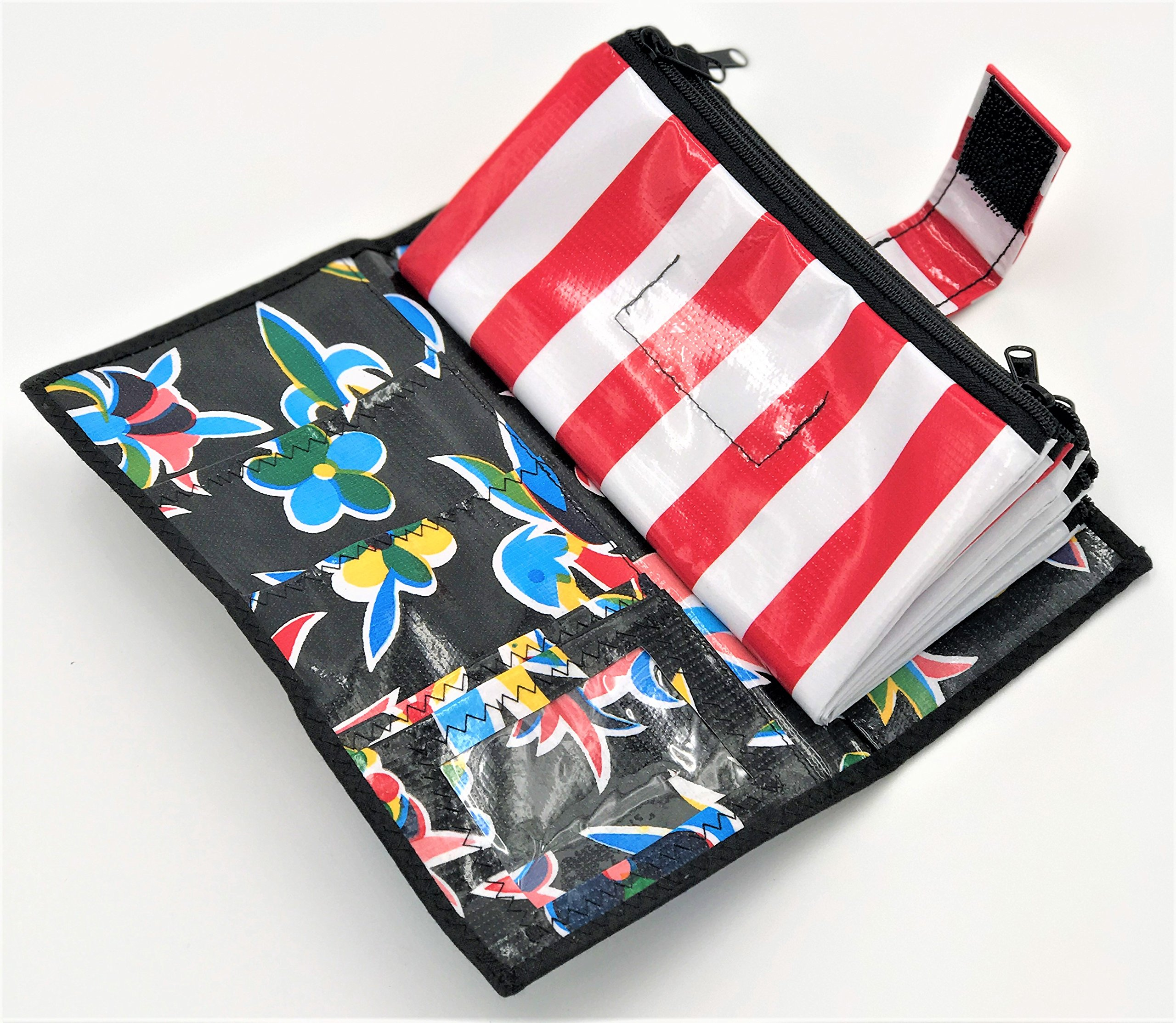 Cute Black and Red Stripe Oilcloth Envelope System Wallet for Cash Budgeting and Extreme Couponing