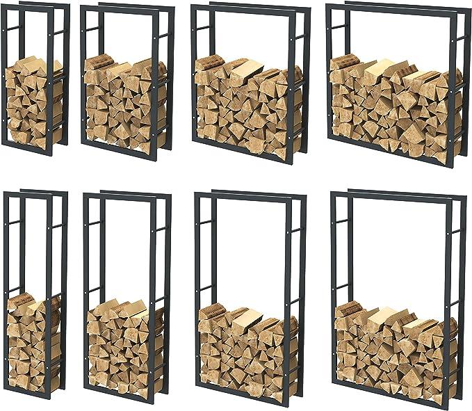Loywe Kaminholzregal Kaminholzhalter Brennholzregal Feuerholzregal Kaminholzst/änder Brennholz Holzhalter aus Metall in Schwarz 100 x 25 x 150 cm LW1087